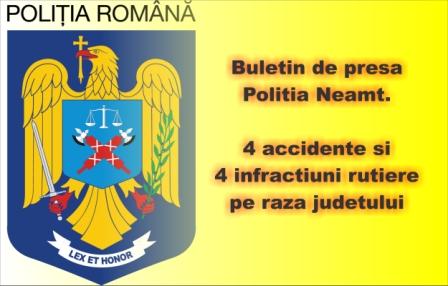 Buletin de presa Politia Neamt. 4 accidente si 4 infractiuni rutiere pe raza judetului