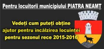 Cum pot locuitorii din Piatra Neamț obține ajutorul pentru încălzire.