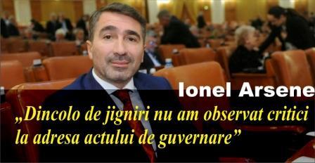 """Ionel Arsene: """"Dincolo de jigniri nu am observat critici la adresa actului de guvernare"""""""