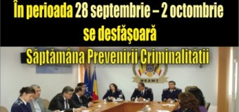 În perioada 28 septembrie – 2 octombrie se desfăşoară Săptămâna Prevenirii Criminalităţii