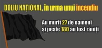 DOLIU NAȚIONAL, în urma unui incendiu. Au murit 27 de oameni și peste 180 au fost răniți