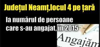 Județul Neamț, locul 4 pe țară la numărul de persoane care s-au angajat, în 2015