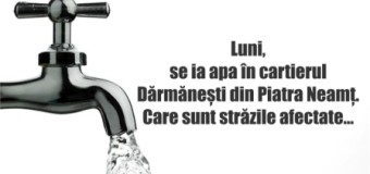 Luni, se ia apa în cartierul Dărmănești din Piatra Neamț. Care sunt străzile afectate…