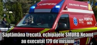 Săptămâna trecută, echipajele SMURD Neamț au executat 179 de misiuni