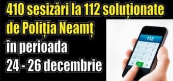 410 sesizări la 112 soluționate de Poliția Neamț în perioada 24 – 26 decembrie