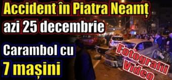 Accident în Piatra Neamț, azi 25 decembrie. Carambol cu 7 mașini. Fotografii + Video