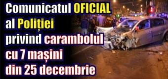Comunicatul OFICIAL al Poliției privind carambolul cu 7 mașini din 25 decembrie