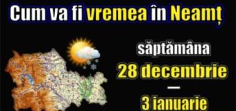 Cum va fi vremea în Neamț – săptămâna 28 decembrie – 03 ianuarie