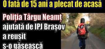 O fată de 15 ani a plecat de acasă. Poliția Târgu Neamț ajutată de IPJ Brașov a reușit s-o găsească