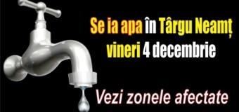 Se ia apa în Târgu Neamț vineri 4 decembrie. Vezi zonele afectate