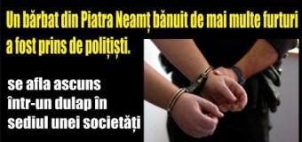 Un bărbat din Piatra Neamț bănuit de mai multe furturi a fost prins de polițiști.