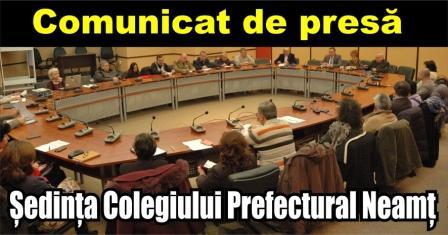 Comunicat de presă – Ședința Colegiului Prefectural Neamț