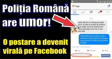 Poliția Română are umor! O postare a devenit virală pe internet