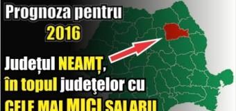 Prognoza pentru 2016 – Județul NEAMȚ, în topul judeţelor cu CELE MAI MICI SALARII