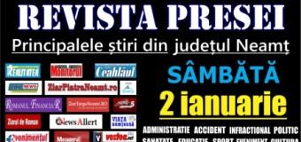 Revista presei – 02.01.2016 Principalele știri din Neamț