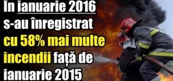 În ianuarie 2016 s-au înregistrat cu 58% mai multe incendii față de ianuarie 2015