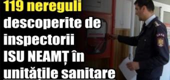 119 nereguli descoperite de inspectorii ISU Neamț în unitățile sanitare