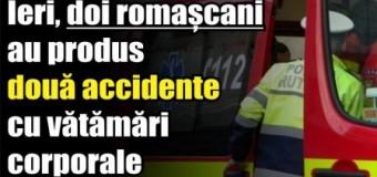 Ieri, doi romașcani au produs două accidente cu vătămări corporale