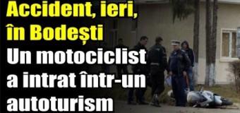 Un motociclist a intrat într-un autoturism, ieri, în Bodești