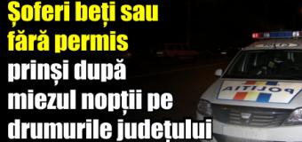 Șoferi beți sau fără permis prinși după miezul nopții pe drumurile județului