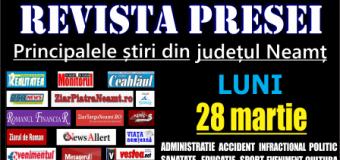 Revista presei – 28 03 2016 Principalele știri din Neamț