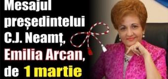 Mesajul președintelui C.J. Neamț, Emilia Arcan, de 1 Martie