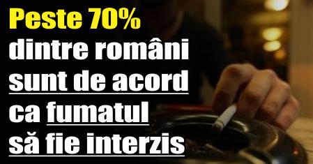 Sondaj: Peste 70% dintre români sunt de acord ca fumatul să fie interzis în toate spațiile publice