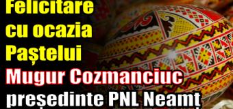 Felicitare cu ocazia Paștelui – Mugur Cozmanciuc, președinte PNL Neamț