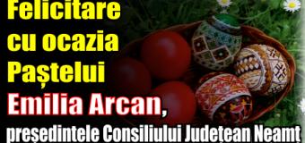 Felicitare cu ocazia Paștelui – Emilia Arcan, președintele Consiliului Județean Neamț