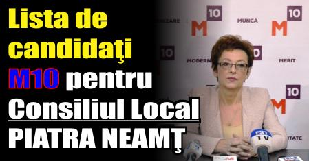 Lista de candidaţi M10 pentru Consiliul Local PIATRA NEAMŢ
