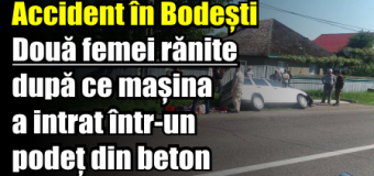 Accident în Bodești. Două femei rănite după ce mașina a intrat într-un podeț din beton