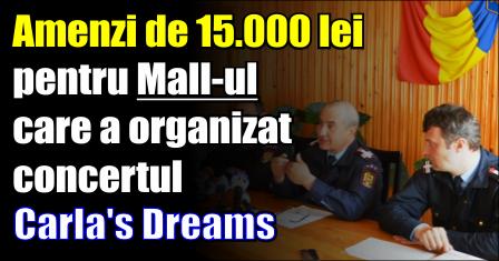 Amenzi de 15.000 lei pentru Mall-ul care a organizat concertul Carla's Dreams