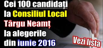 Cei 100 candidați la Consiliul Local Târgu Neamț la alegerile din iunie 2016