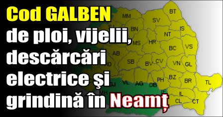 Cod GALBEN de ploi, vijelii, descărcări electrice şi grindină în Neamț