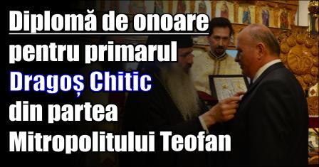 Diplomă de onoare pentru primarul Dragoș Chitic din partea Mitropolitului Moldovei