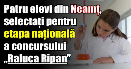 """Patru elevi din Neamț, selectați pentru etapa națională a concursului """"Raluca Ripan"""""""