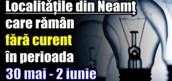 Vezi lista cu localitățile din Neamț care rămân fără curent în perioada 30 mai – 2 iunie
