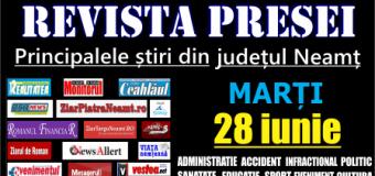 Revista presei – 28 06 2016 Principalele știri din Neamț