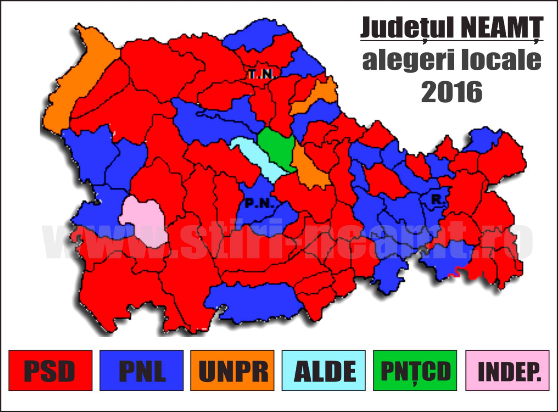 HARTA INTERACTIVĂ NEAMȚ Rezultatele alegerilor locale 2016