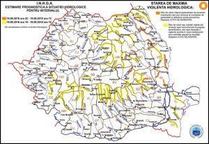 Harta Avertizare hidrologica_Nr_46 din 18.06.2016