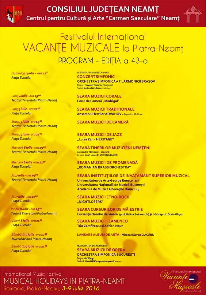 Program vacante muzicale