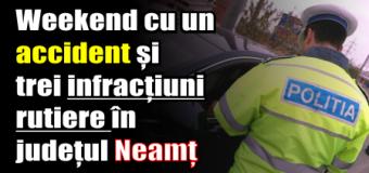 Weekend cu un accident și trei infracțiuni rutiere în județul Neamț