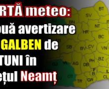 ALERTĂ meteo: O nouă avertizare cod GALBEN de furtuni în județul Neamț
