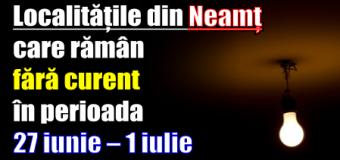 Vezi lista cu localitățile din Neamț care rămân fără curent în perioada 27 iunie – 1 iulie