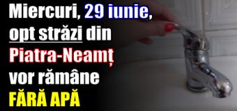 Miercuri, 29 iunie, opt străzi din Piatra-Neamț vor rămâne fără apă