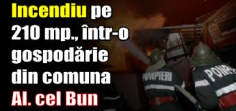 Incendiu pe 210 mp., într-o gospodărie din comuna Alexandru cel Bun.