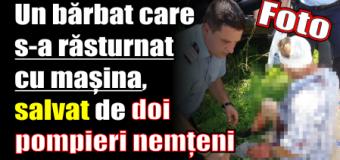 Un bărbat care s-a răsturnat cu mașina, salvat de doi pompieri nemțeni