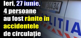 Ieri, 4 persoane au fost rănite în accidentele de circulație pe raza județului Neamț