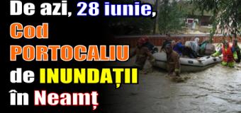 Cod PORTOCALIU de INUNDAȚII în Neamț. S-a convocat Comitetul pentru Situații de Urgență