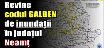 Revine codul GALBEN de inundații în județul Neamț